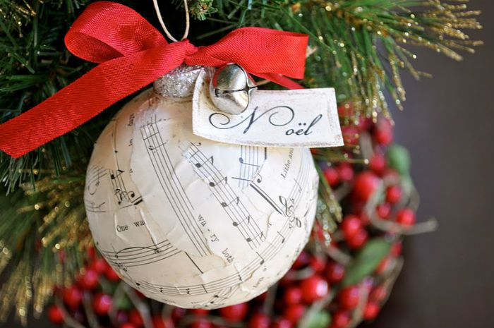 10 beautiful sheet music christmas ornaments you can make for Christmas ball craft ideas