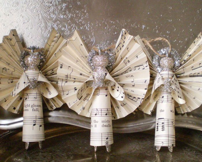 Christmas Crafts Paper Angels : Beautiful sheet music christmas ornaments you can make