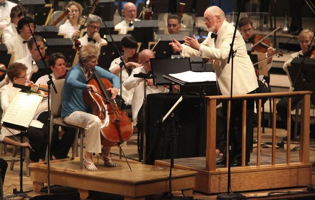 """John Williams and BSO Associate Principal Cellist Martha Babcock performing """"Memoirs of a Geisha"""" during Film Night at Tanglewood on Aug, 2, 2014 (BSO photo   Hilary Scott)."""