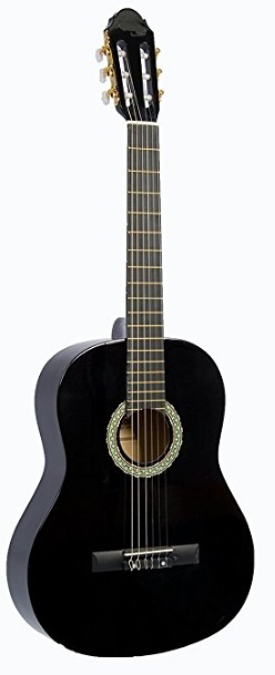 "39"" Inch Full Size Black Student Beginner Classical Nylon String Guitar & DirectlyCheap(TM) Translucent Blue Medium Guitar Pick (PRO-S Series)"