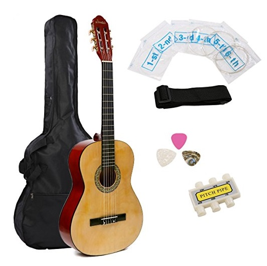 "IMusic 39"" Inch Full Size Gloss Natural Classical Guitar Starter Kit Beginner Package"