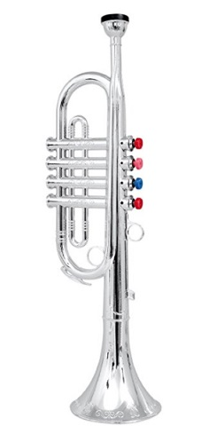 Click n' Play Metallic Silver Kids Trumpet