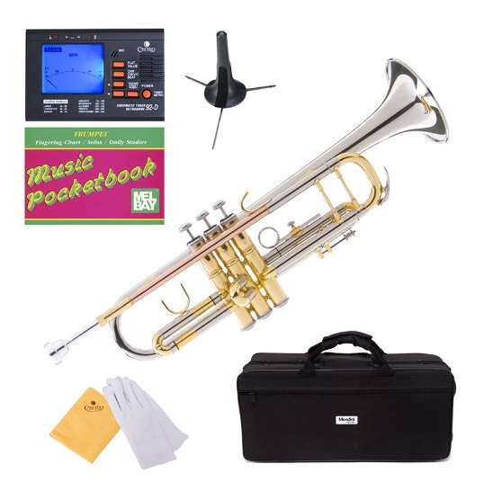 Mendini MTT-30CN Nickel Plated Intermediate Double-Braced Bb Trumpet