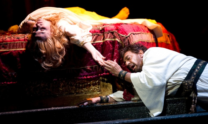 As Otello, with Marina Popslavskaya as Desdemona in the final act of Verdi's opera in a 2011 Royal Opera House gala celebrating the singer's 40th anniversary since his Covent Garden debut