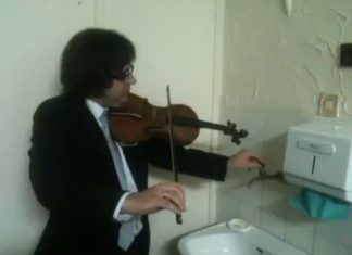 Violinist Plays Along With Broken Water Pipes