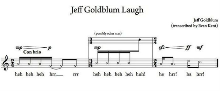 jeff goldblum laugh sheet music