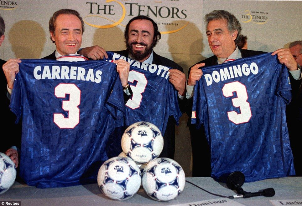 The Three Tenors Jose Carreras, Luciano Pavarotti and Placido Domingo just before the 1998 World Cup - they performed a concert under the Eiffel Tower in Paris during the tournament. Eight years earlier, Pavarotti's Nessun Dorma became the soundtrack to a memorable 1990 World Cup in Italy