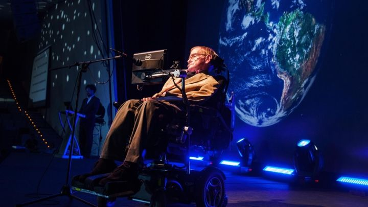 Stephen Hawking giving a lecture during the Starmus Festival on the Spanish Canary island of Tenerife on September 23th, 2014.