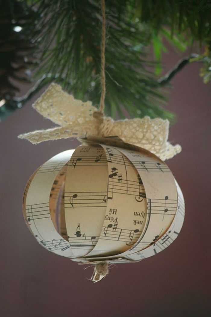 10 beautiful sheet music christmas ornaments you can make yourself sheet music christmas decoration paper solutioingenieria Choice Image