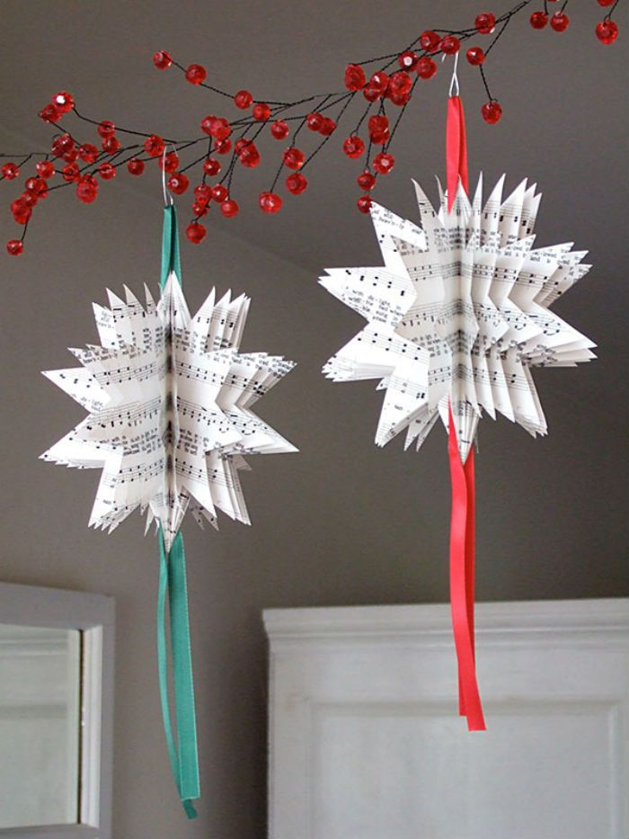 10 beautiful sheet music christmas ornaments you can make yourself sheet music star crafts christmas solutioingenieria Choice Image
