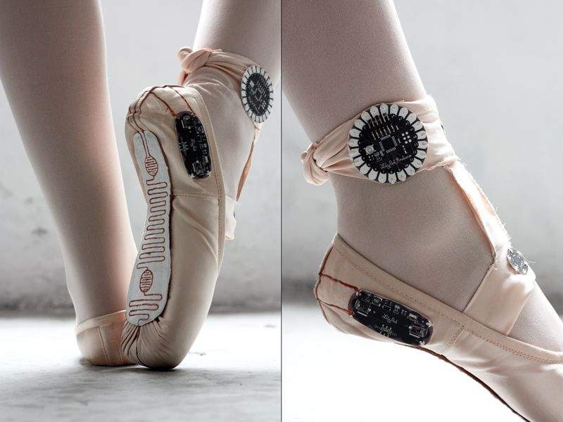 Arduino-enhanced slippers pointe shoes ballet