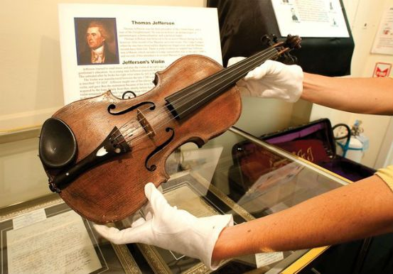 A violin owned by Thomas Jefferson, the third president of the United States