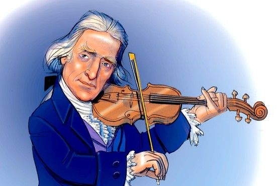 Thomas Jefferson playing violin - Illustration by Randy Jones