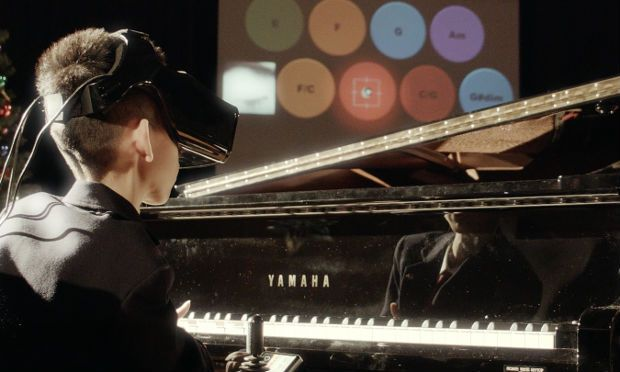 Eye Play the Piano helps physically disabled children play music. Photograph: Fove / JustGiving