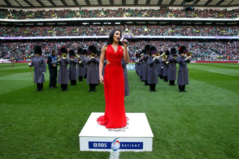 Laura Wright sings the national anthem during the RBS Six Nations. Photo: Getty