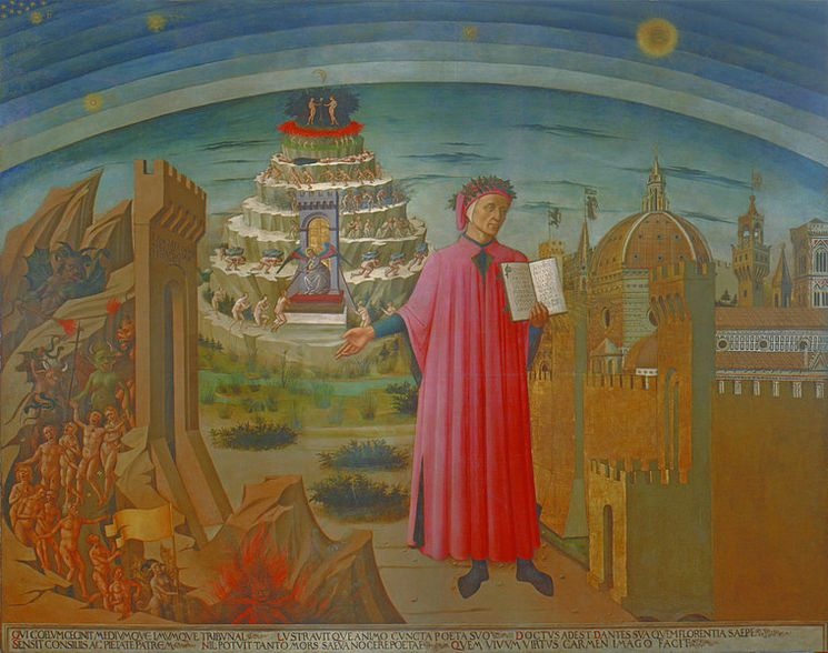 La Divina Commedia di Dante (1465) by Domenico di Michelino. Fresco in the dome of the church Santa Maria del Fiore in Florence.