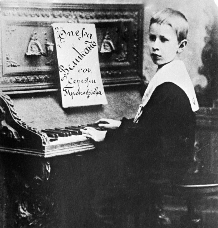 The 11-year-old Prokofiev already an accomplished composer plays forte piano in 1902