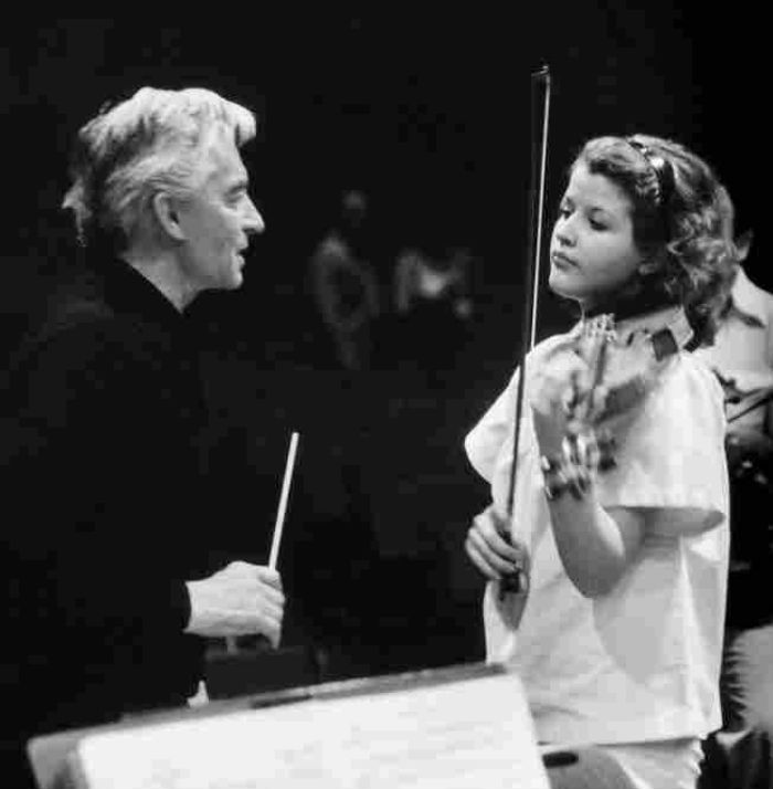 Anne Sophie Mutter played under Herbert von Karajan at aged 13.