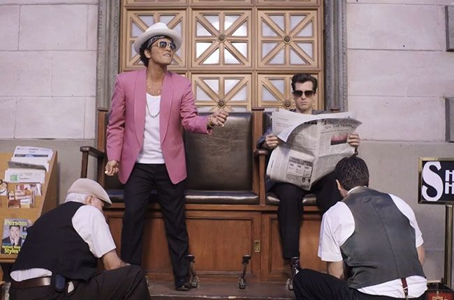 "Bruno Mars and Mark Ronson in ""Uptown Funk."""