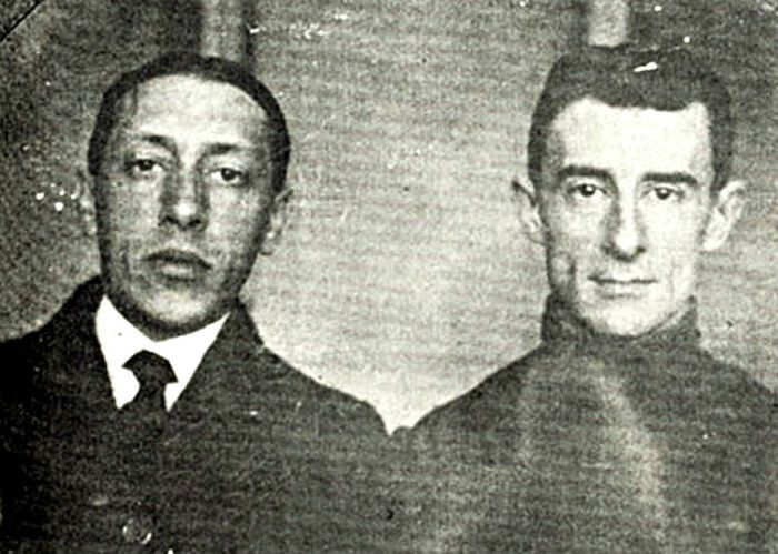 A rare photo of Igor Stravinsky and Maurice Ravel
