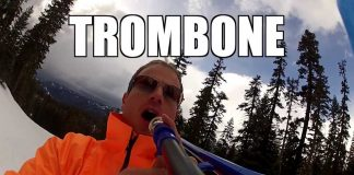 Musician Playing the Trombone While Skiing