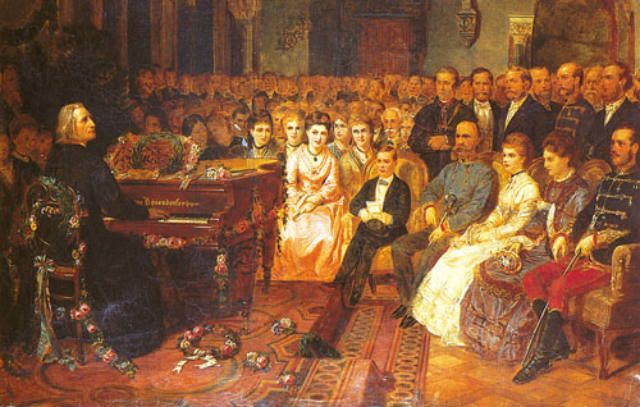 An original painting in the Bösendorfer Hall shows Liszt playing a concert for the emperor Franz Josef and the court on a Bösendorfer grand piano. The model Liszt is veneered in Vavona.