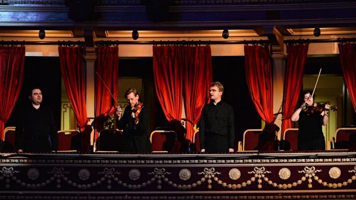 Members of the Aurora Orchestra in the Royal Albert Hall. Photo: Mark Allan/BBC