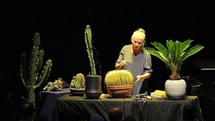 Robyn Schulkowsky leads John Cage's Branches for amplified cactuses and plants at the BBC Proms. Photo: BBC/Chris Christodoulou