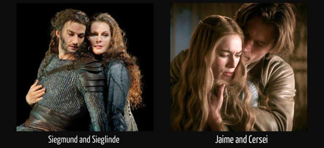 Siegmund and Sieglinde vs Jaime and Cersei