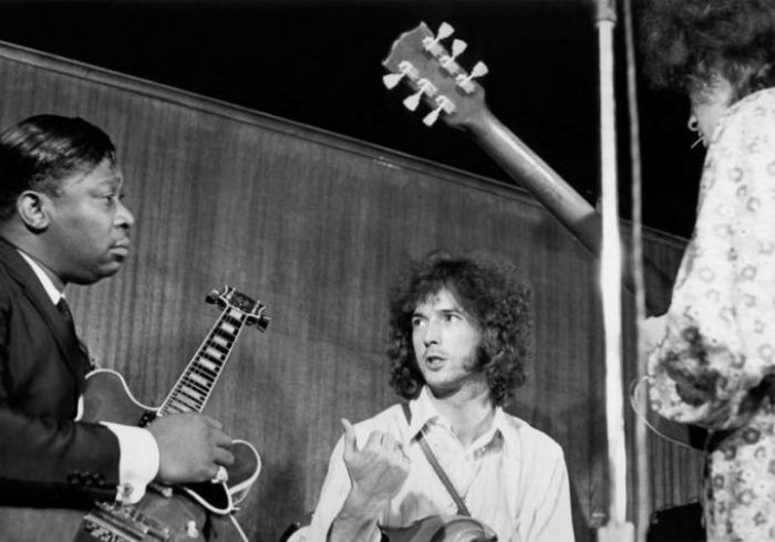 B.B. King, Eric Clapton and Elvin Bishop perform together in New York City on Janurary 1st, 1967. ©Hulton| Archive of London/ Michael Ochs