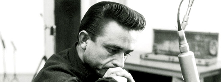 Johnny Cash begind the long black veil