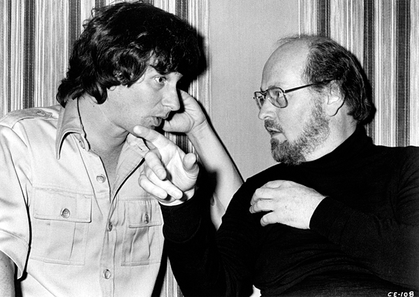 Classic behind the scenes photograph of Steven Spielberg working with John Williams on the score for Close Encounters of the Third Kind (1977).