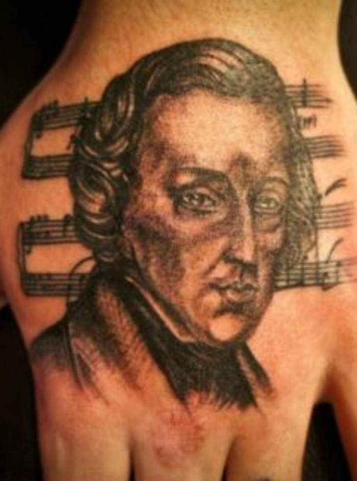 chopin head tattoo