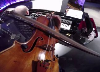 Violinist Anne-Sophie Mutter films her performance with a GoPro Camera