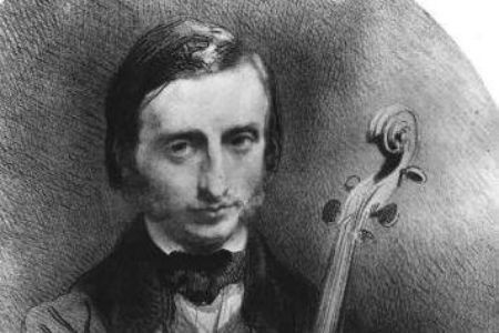 Offenbach as a young cello virtuoso, drawing by Alexandre Laemlein from 1850