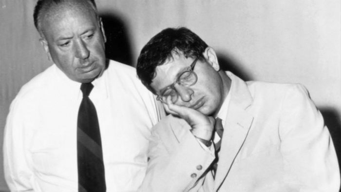 Bernard Herrmann pictured with Alfred Hitchcock.