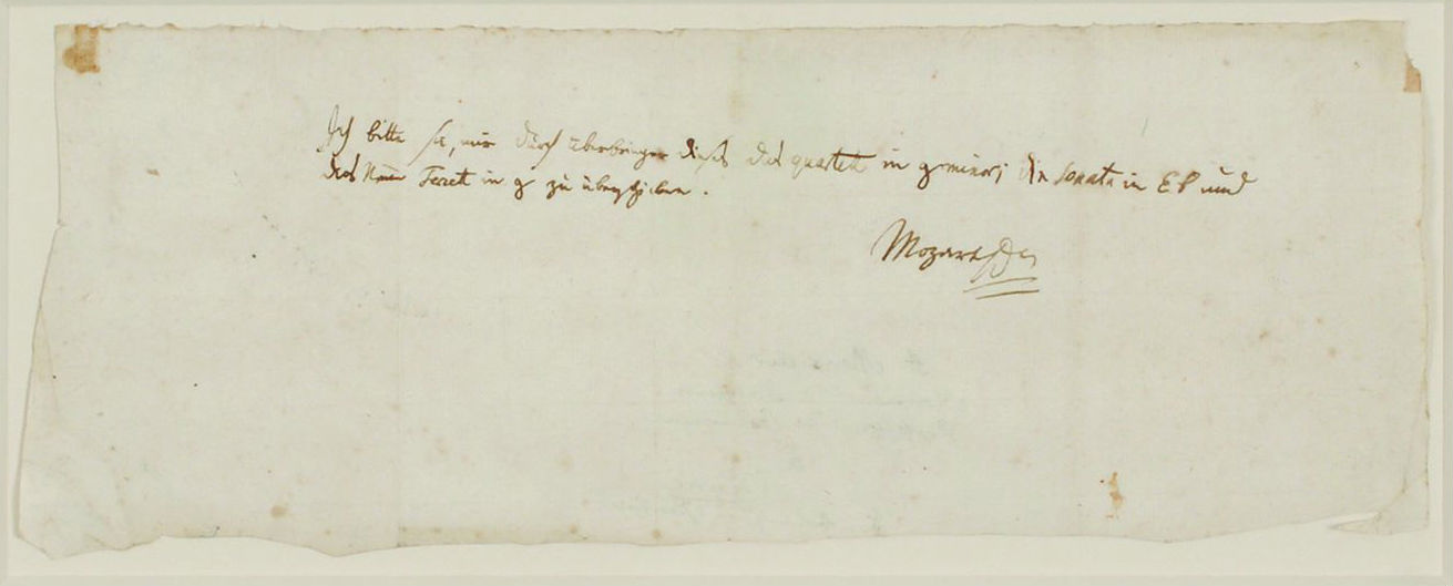 A letter by Mozart seeking to reclaim some scores from a friend fetched $217,000 at an auction in Boston