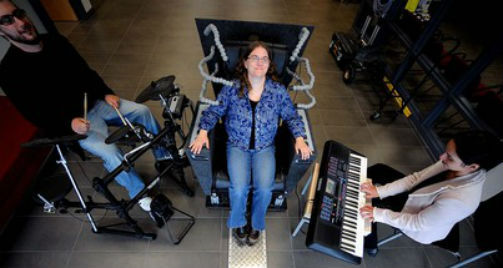 The Emoti-Chair allows deaf to feel vibrations of music and sound. Photo: ryerson.ca