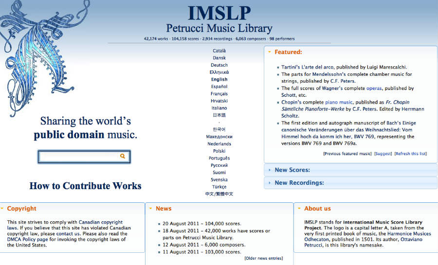 The IMSLP is the largest open source library of musical scores on the internet.