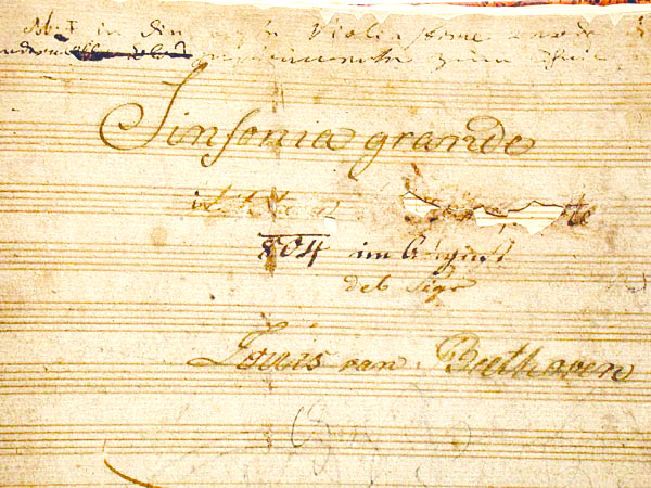 Beethoven Eroica manuscript title page with Napoleon scratched out