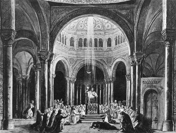 End of Act III in the original 1882 production, design by Paul von Joukowsky.