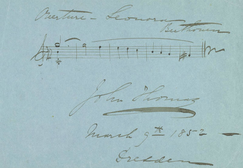 Overture to Beethoven's Fidelio (album leaf) : manuscript in the hand of John Thomas, 1852 Mar. 9.