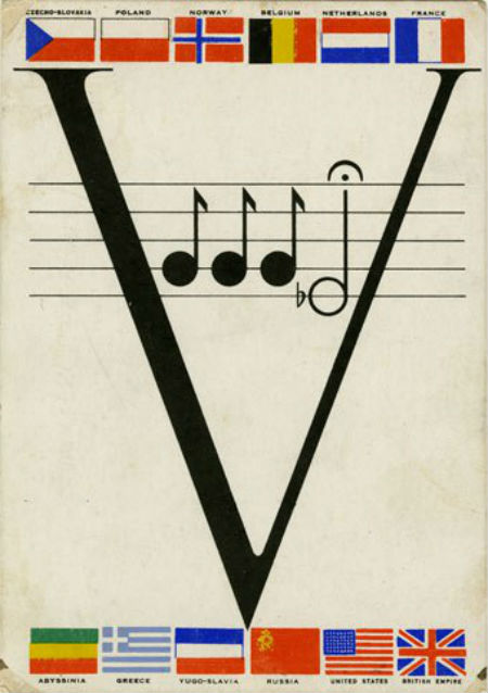 V for Victory postcard with musical quotation from the opening of the Fifth Symphony and flags of the Allied forces