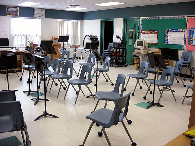 A school music room. Image credit: Wikimedia Commons