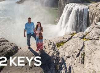 Watch how this piano-violin duo performs from top of waterfall