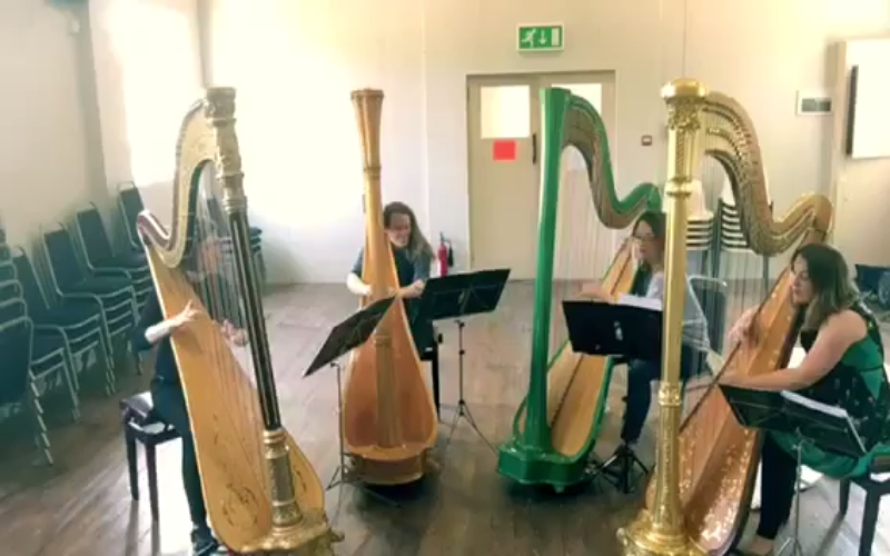 Four Girls And 4 Harps Perform Piazzolla's Libertango