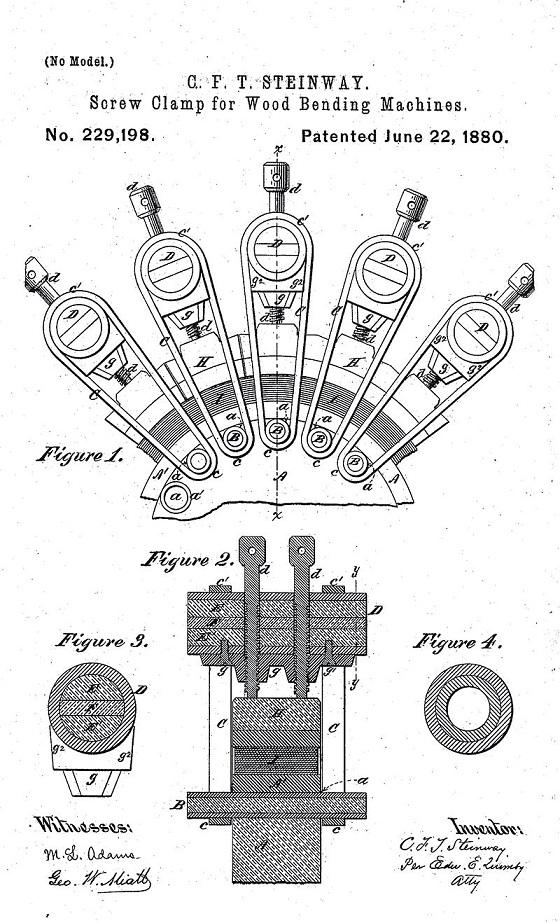 C.F. Theodore Steinway's patented rim bending block