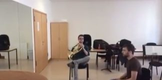 Funny Combination of French Horn and Squeaky Chair