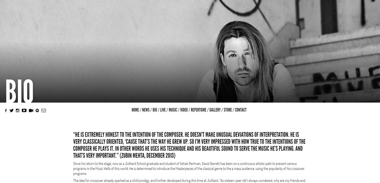 David Garrett bio page
