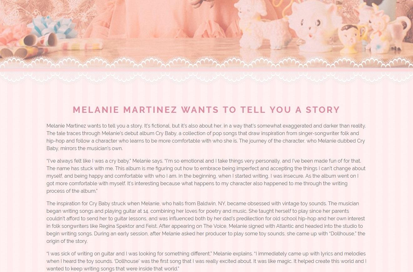Melanie Martinez bio page